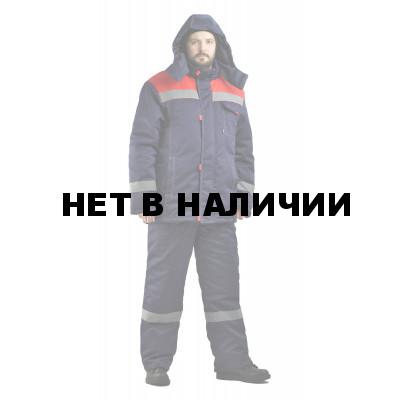 Костюм мужской Тимбер зимний с полукомбинезоном темно-синий с красным