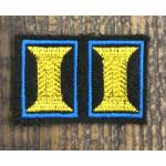Петличные эмблемы офицерские оливковые с голубым кантом на липучке шелк