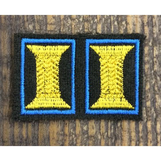 Петличные эмблемы офицерские оливковые с голубым кантом шелк