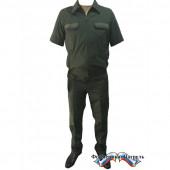 Костюм МО офисный мужской короткий рукав(ткань габардин, подкладка сетка, цвет зелёный)