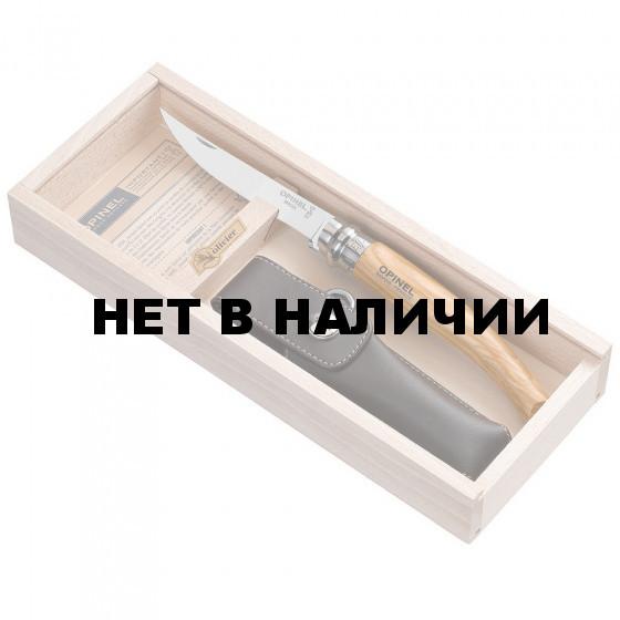 Нож №10VRI olive wood,олива,кожаный чехол, деревянный футляр