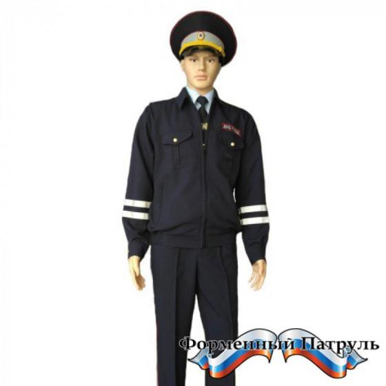 Костюм ДПС (2 брюк, цвет темно-синий, ткань габардин, вышитые шевроны)