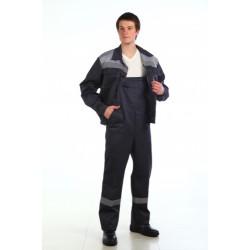 Костюм мужской Оптимал летний, тёмно-серый со светло-серым. СОП 50 мм.