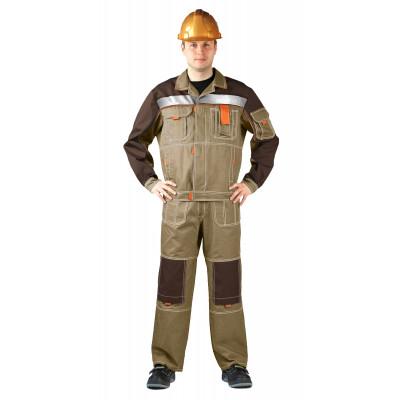 Костюм РОЛЬФ куртка/полукомбинезон, бежевый/коричневый, ткань : Твил-210