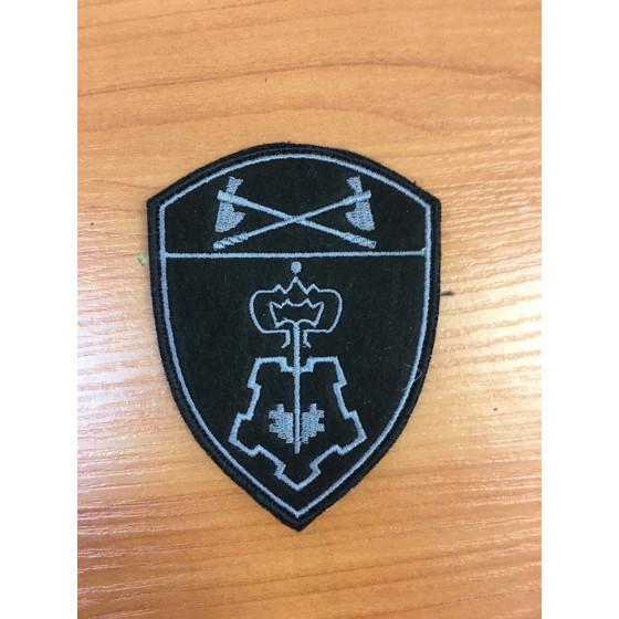 Шеврон Росгвардия Приволжский округ Вневедомственная охрана черный с серым на липучке