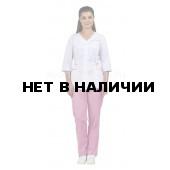 Комплект одежды медицинской женской Ольга NEW (блуза и брюки) белый+розовый