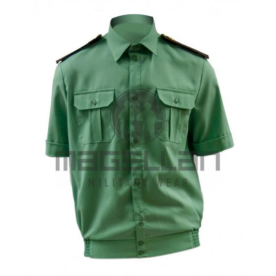 Рубашка РОСГВАРДИЯ офисная с коротким рукавом цвет зеленый (спаржа) на резинке