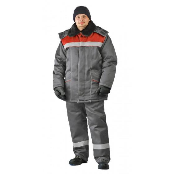 Костюм зимний ВЬЮГА куртка/полукомбинезон цвет: темно-серый/красный