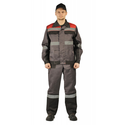 Костюм РЕСПЕКТ куртка/полукомбинезон, серый/черный