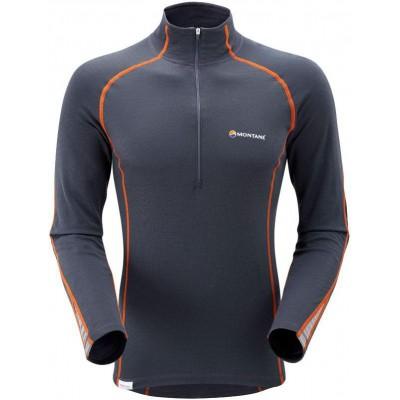 Футболка мужская BIONIC L/S ZIP NECK, XL steel/burnt orange, MBLZ