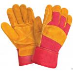 Перчатки комбинированные РЛ желтые с красным, ткань - спилок, усиленные