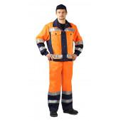 Костюм сигнальный ПРОТЕКТ куртка/брюки цвет: оранжевый/т.синий