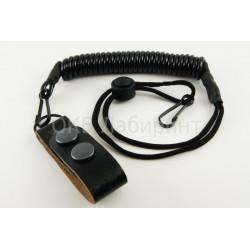 Шнуровая петля страховочная со скользящим фиксатором + карабин-шлевка кожа съемная черная