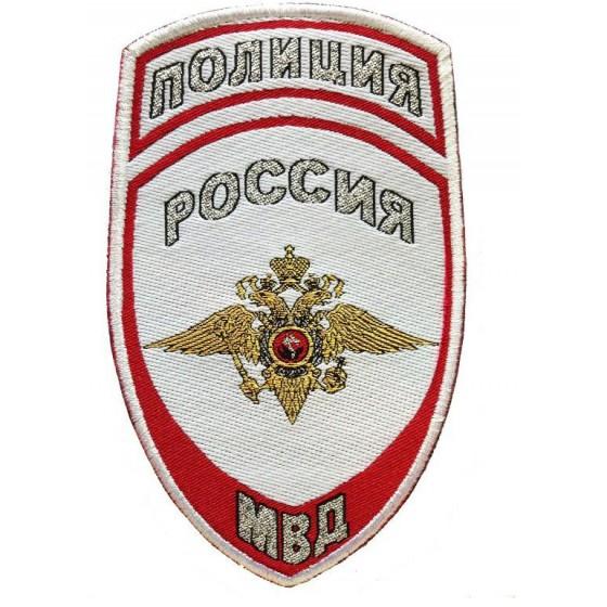 Нашивка на рукав Полиция Россия МВД парадная белая тканая