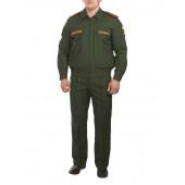 Костюм МО офисный мужской, длинный рукав, зеленый габардин\сетка