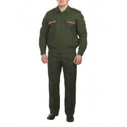 Костюм МО офисный мужской длинный рукав(ткань габардин, подкладка сетка, цвет зелёный)
