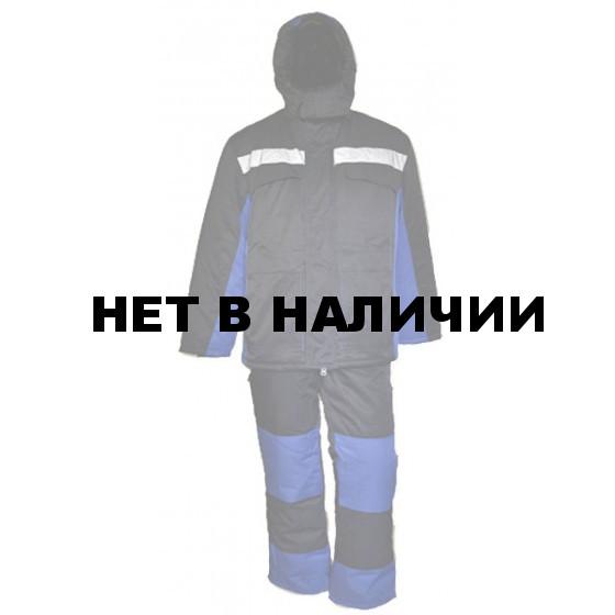 Костюм зимний УРАЛ удлиненный с полукомбинезоном синий Грета арт.6153-10