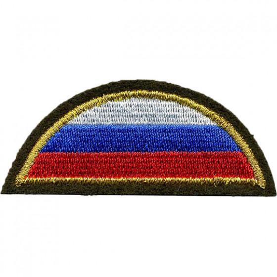 Нашивка на рукав с липучкой ВС РФ триколор полукруг оливковый фон вышивка шёлк