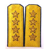 Погоны МО генерал армии старого образца голубой кант парадные трапеция на китель золото