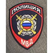 Нашивка на рукав с липучкой Полиция Подразделения охраны общественного (пр.777) нового образца порядка люрекс