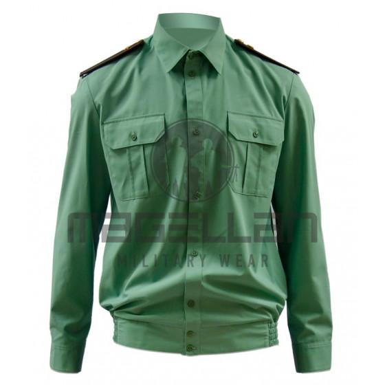 Рубашка РОСГВАРДИЯ офисная с длинным рукавом цвет зеленый (спаржа) на резинке