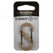 Карабин пластиковый S-Biner, NiteIze, размер 2, коричневый