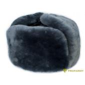 Шапка-ушанка натуральный мех (овчина серая, серое сукно) Profarmy