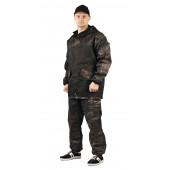 Костюм ГОРКА-ГОРЕЦ куртка/брюки, цвет: Черный/камуфляж Питон черный, ткань : Грета