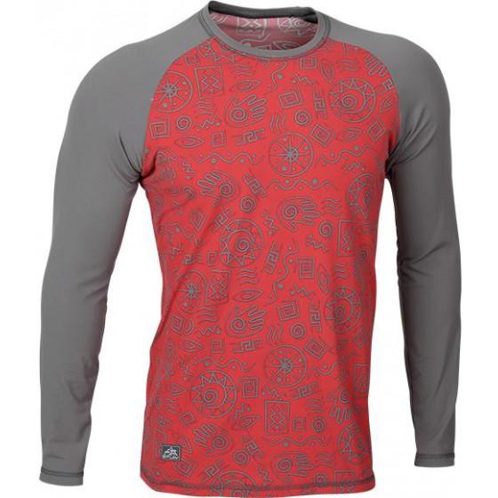 Футболка L/S Africa мод.2 красно-серая (рисунок)