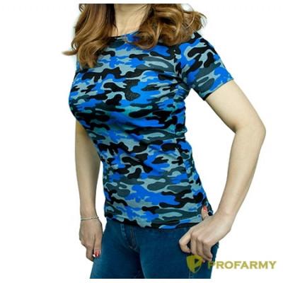 Футболка женская, короткий рукав, Navy Blue Camo