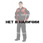 Костюм РЕСПЕКТ куртка/полукомб. цвет: ЧЕРНЫЙ/КРАСНЫЙ