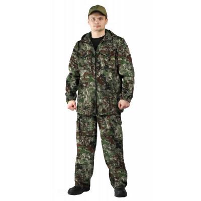 Костюм ТУРИСТ 2 куртка/брюки, камуфляж Сетка зеленый, ткань : Твил Пич
