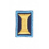 Петличные эмблемы офицерские темно-синие с голубым кантом на липучке люрекс