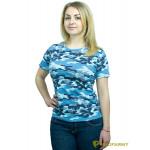Футболка женская, короткий рукав, Sky Blue Camo