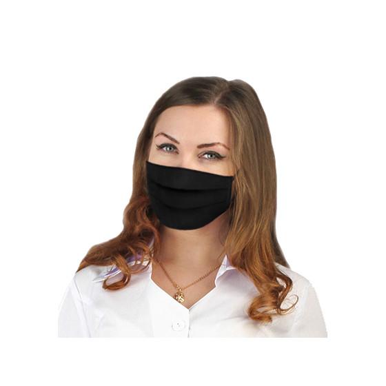 Маска для лица трехслойная многоразовая цвет: черный, ткань : бязь-ГОСТ