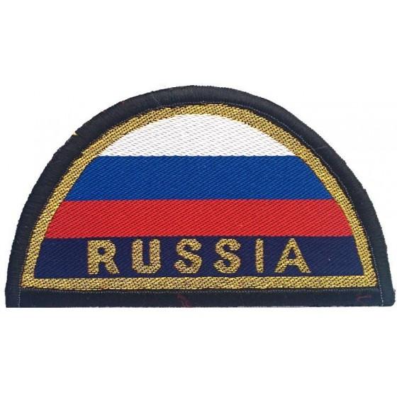 Нашивка на рукав RUSSIA желтый кант малая тканая