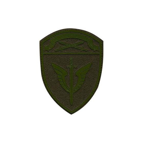 Нашивка на рукав с липучкой Росгвардия Северо-Западного округа ОМОН полевая фон оливковый пластик
