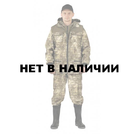 Костюм мужской Тройка демисезонный, камуфляж Мох/бежевый, ткань Алова/Канада