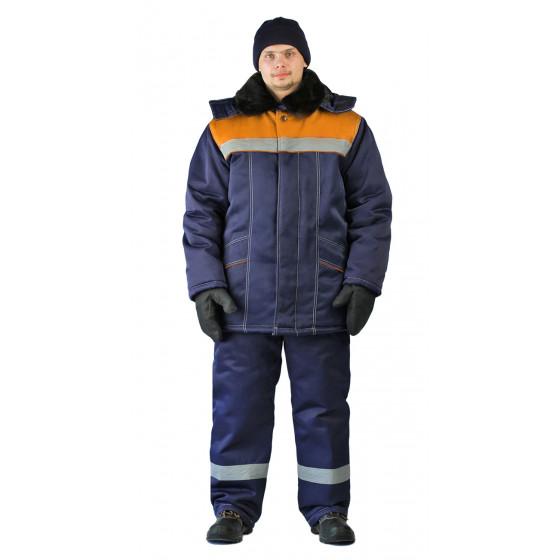 Костюм зимний ВЬЮГА куртка/полукомб. цвет: т.синий/оранжевый