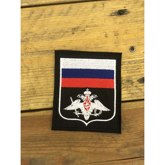 Нашивка на рукав с липучкой МО 300 приказ черная вышивка белая шелк