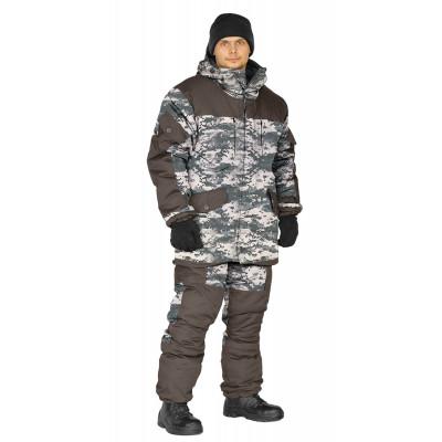 Костюм зимний ГОРКА 3 куртка/брюки, цвет:, камуфляж серая цифра/т.хаки, ткань : Курточная/Таслан