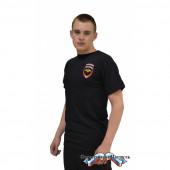 Футболка Полиция короткий рукавгерб и нашивка (цвет иссиня черный)
