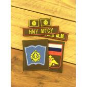 Комплект нашивок Военный учебный центр НИУ МГСУ (с петлицами) красный кант с липучками