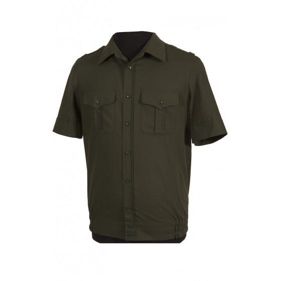 Рубашка офисная, короткий рукав, зеленый