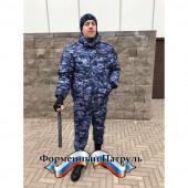 Куртка зимняя Росгвардия укороченная синяя точка (рип стоп - мембрана /холофайбер/фольга, капюшон-флис)