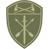 Нашивка на рукав с липучкой Росгвардия Приволжский Округ в/ч Оперативного назначения полевая фон оливковый пластик