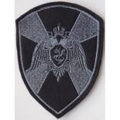 Нашивка на рукав с липучкой Росгвардия орел черная вышивка шелк