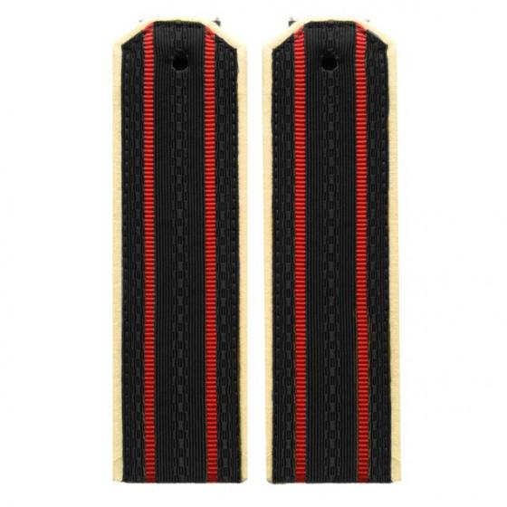 Погоны ФГГС черные с двумя красными просветами