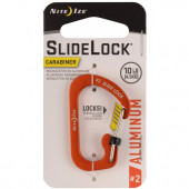 Карабин алюминиевый с блокировкой SlideLock Aluminum NiteIze, размер 2, оранжевый