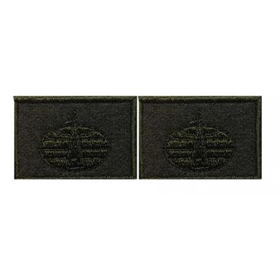 Эмблема петличная Космические войска нового образца полевая вышивка шелк
